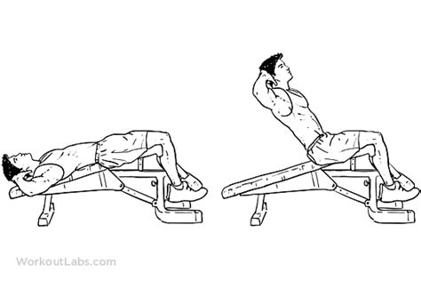 decline bench sit ups decline bench crunches sit ups workoutlabs