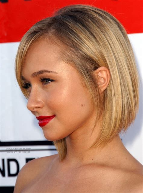 short hair angular jaw hayden panettiere with short hair hair cut with a steep
