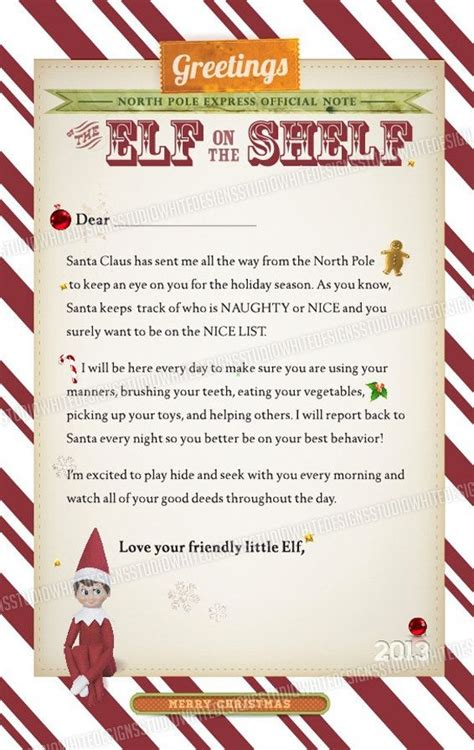 printable elf on the shelf arrival letter letter from elf on the shelf