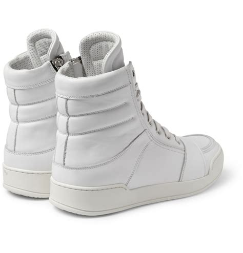balmain leather high top sneakers balmain leather hightop sneakers in white for lyst