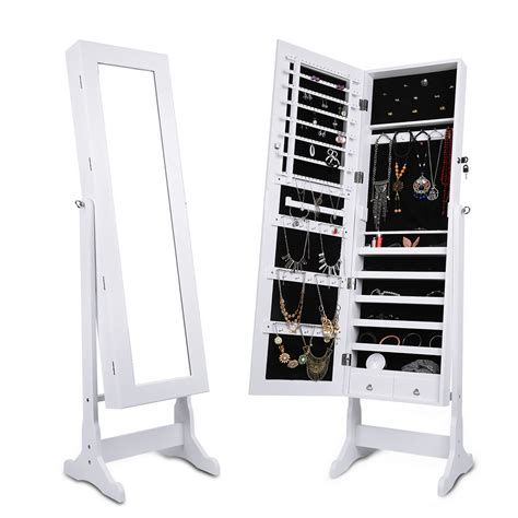 Mirror Storage Jewelry Armoire langria lockable mirrored jewelry cabinet armoire mirror organizer storage box ebay