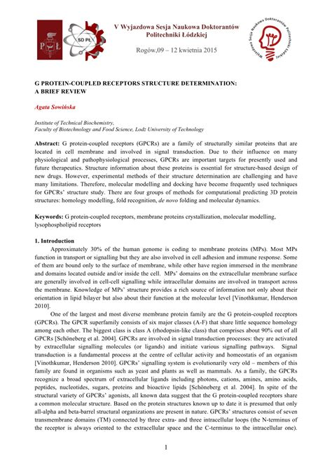 g protein coupled receptors pdf g protein coupled receptors structure determination a