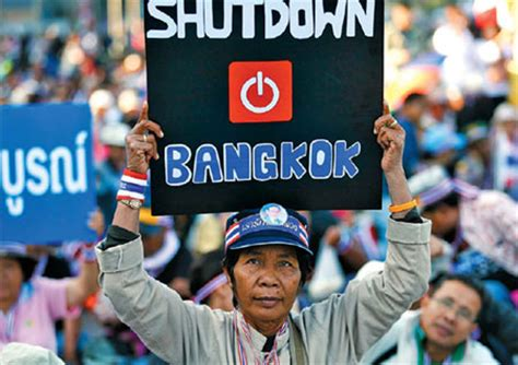 protesters occupy a major street in central bangkok on
