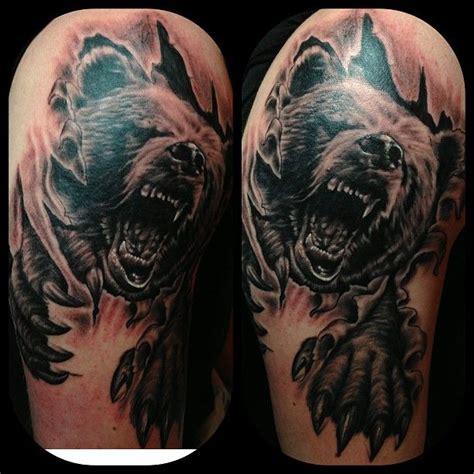 bear sleeve tattoo designs leaves and roaring tattoos on half sleeve