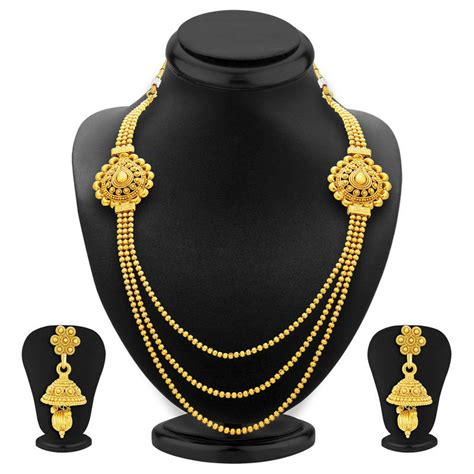 Three String Choker buy charming three string gold plated necklace set for