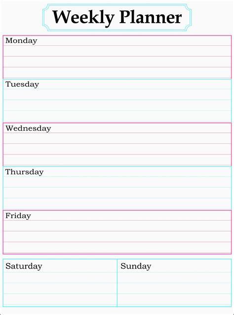 Weekly Planner Printable Uk | stunning one week planner template images resume ideas