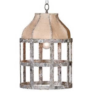 Rustic Country Chandelier Lucia Country Cottage Rustic Iron Burlap 1 Light