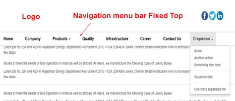 responsive top bar responsive bootstrap navigation menu bar fixed top