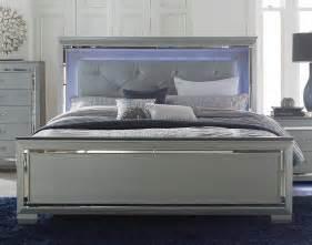 homelegance allura bedroom set with led lighting silver