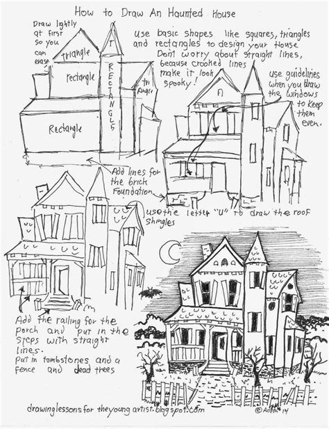 how to draw a haunted house 15 steps with pictures how to draw a haunted house do it daily
