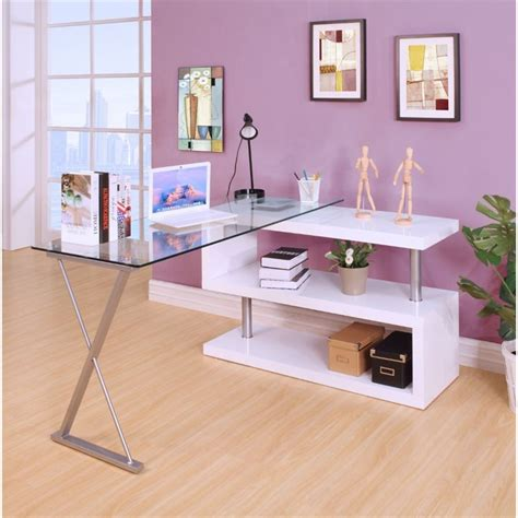 acme buck home office desk in clear glass and white 92368