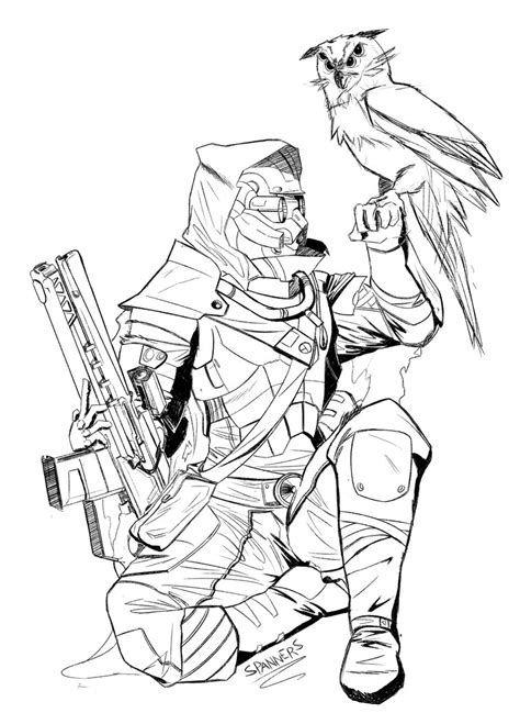 destiny hunter oc lineart by mrspanners on deviantart