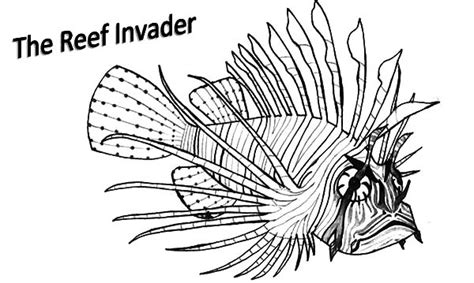 lionfish swim near coral reef coloring pages batch coloring