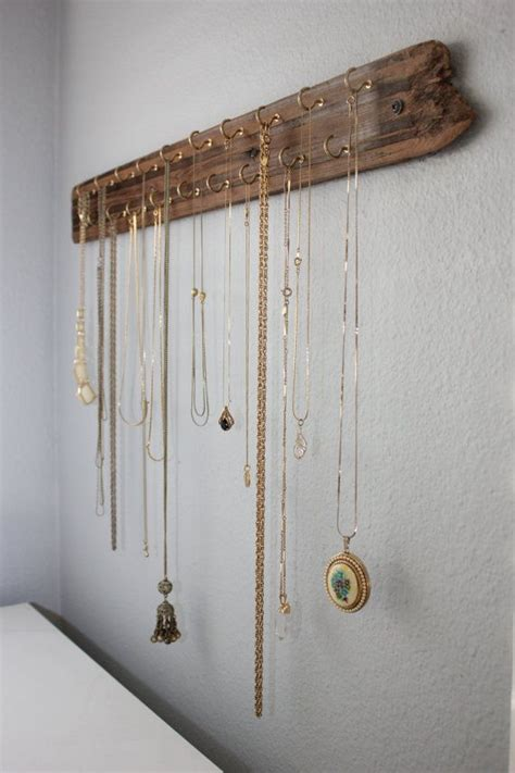 how to make a jewelry hanger necklace organizer made with reclaimed wood hooks for
