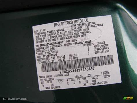 2002 windstar color code su for green metallic photo 11191975 gtcarlot