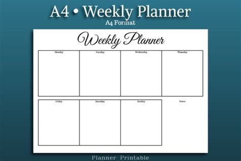 printable a4 monthly planner weekly planner template a4 size printable pdf a4 weekly