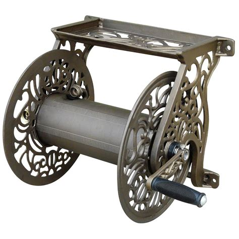 Liberty Garden Products Cast Aluminum Wall Mount Hose Reel Wall Mount Garden Hose Reel Metal