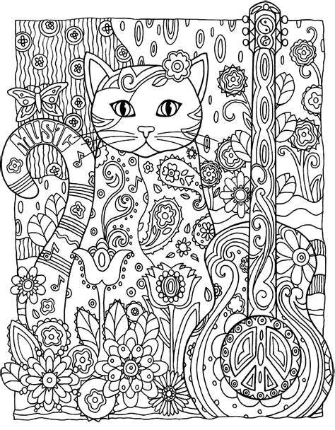 cats coloring book grayscale stress relief calming and relaxing coloring book portable books cat guitar animals coloring pages for adults justcolor