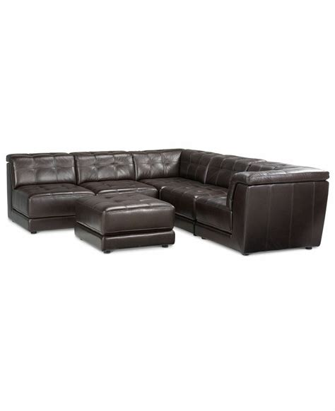 Macys Leather Sectional Sofa Stacey Leather 6 Modular Sectional Sofa 3 Armless Chairs 2 Sq