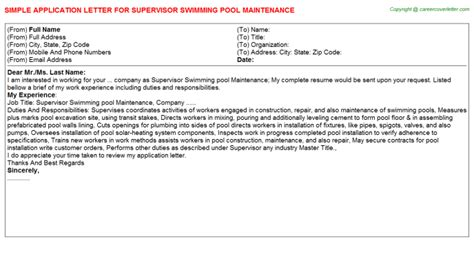 Introduction Letter Swimming Pool Company Swimming Pool Servicer Application Letters