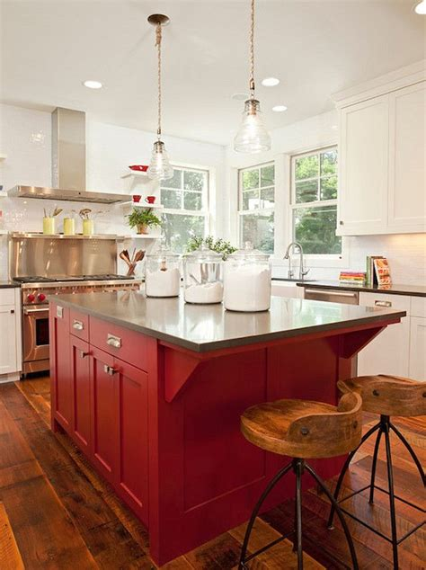 painting a kitchen island 25 best ideas about red kitchen island on pinterest