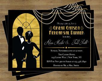 Gatsby Invitation Etsy Great Gatsby Wedding Invitation Templates