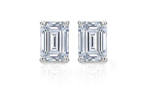 4 cttw emerald cut cubic zirconia stud earrings in