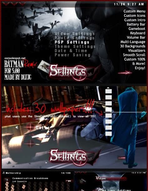 themes psp slim batman remix psp themes for 5 00 free psp themes downloads