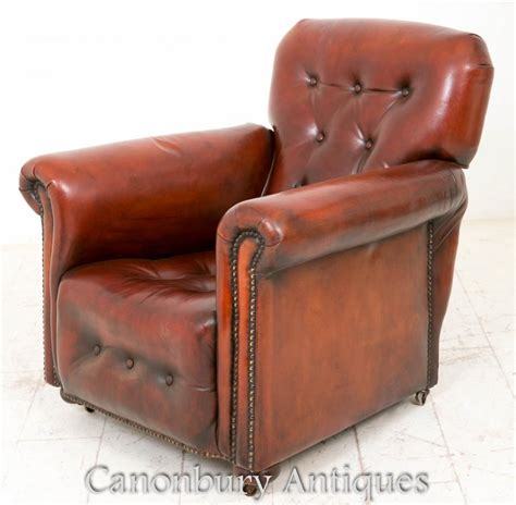 art deco recliner art deco reclining leather club chair arm chairs 1930 ebay