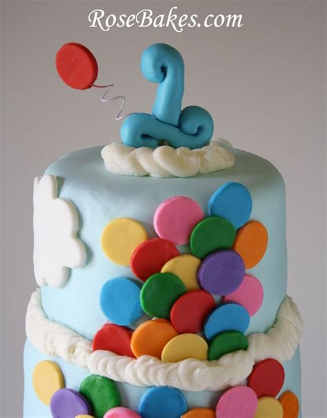 Elephant Baby Shower Balloons - bright circus cake with lots of balloons and circus animal cookies