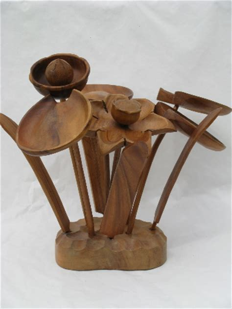 Mod monkey pod wood art carving sculpture, tropical flowers