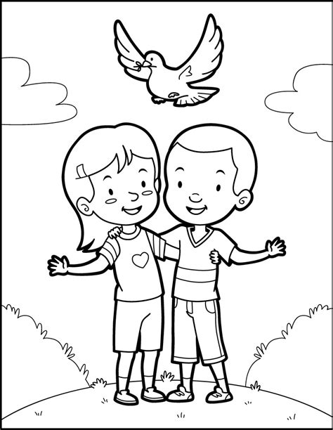 Peace Dove Coloring Page by Friends And A Dove Of Peace Coloring Pages Hellokids