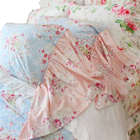 good French Country Living Room #5: pink_blue_rose_floral_french_country_shabby_chic_mermaid_long_ruffle_lace_victorian_bedroom_bedding_comforter_duvet_cover_pillow_sham_6_.jpg
