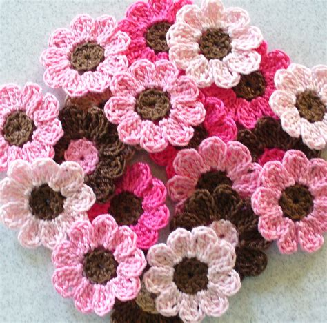 handmade crochet flowers appliques embellishments pink brown set of 21 on luulla
