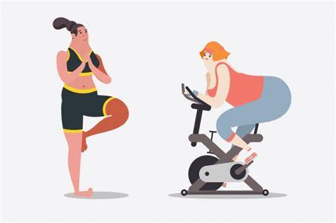 imagenes fitness animadas cartoon karakter ontwerp illustratie twee vrouwen