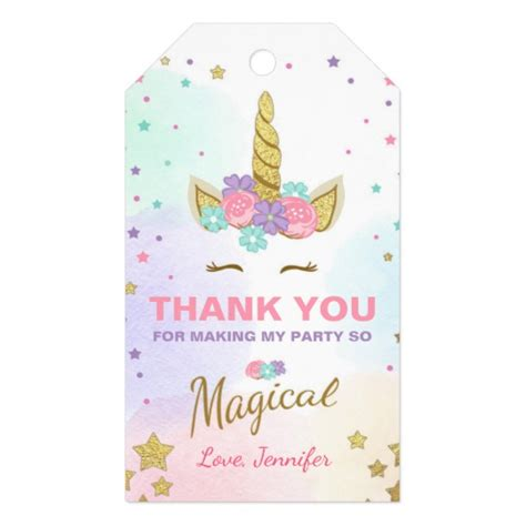 printable unicorn thank you tags unicorn thank you tags unicorn magical birthday zazzle co uk