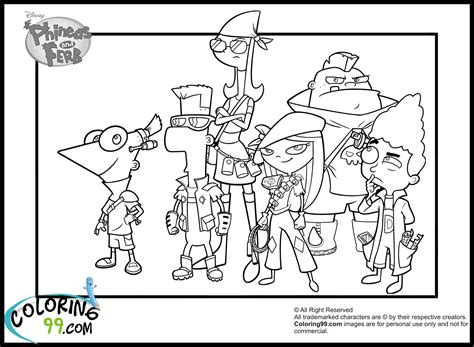 Phineas And Ferb Coloring Pages Team Colors Phineas And Ferb Colouring Pages