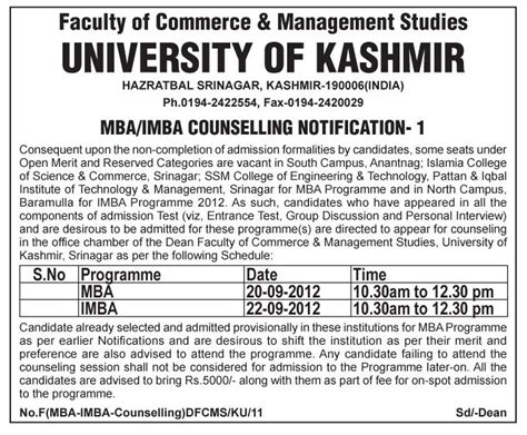 How To Apply Mba Counselling by Jk Students Mba Imba Counselling Notification