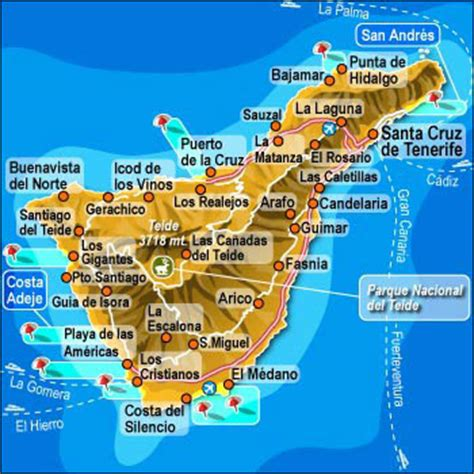 carte de ténérife photos des iles canaries