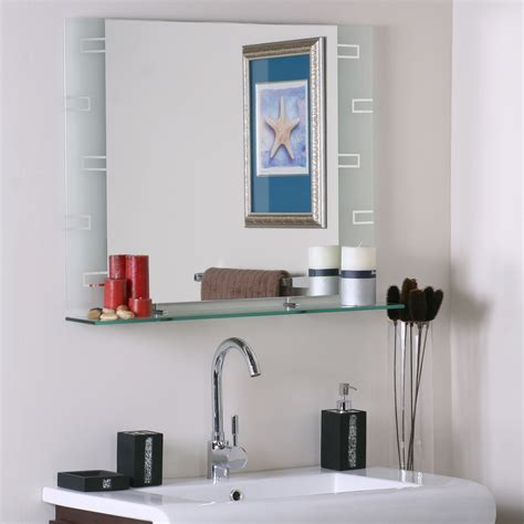 frameless contemporary bathroom mirror with shelf in