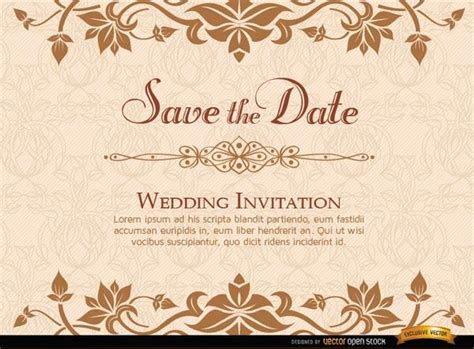 templates for golden wedding invitations golden wedding invitation template 123freevectors
