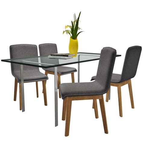 gray dining chairs set of 4 set of 4 gray fabric oak dining chair indoor