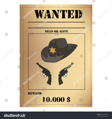 Vector Illustration Vintage Western Wanted Poster Stock Vector 318233690 Shutterstock West Poster Template