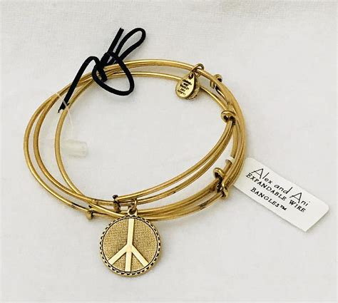 Bangle Set Of 3 alex and ani rustic gold peace bangle set of 3 bangles