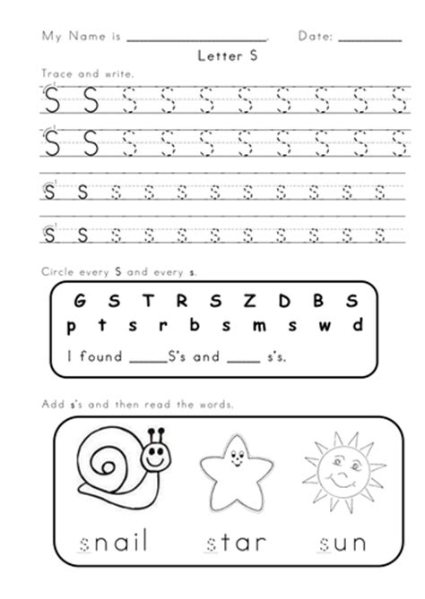 alphabet worksheet letter s letter s and a worksheets by vigunya teaching