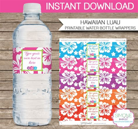 Luau Party Water Bottle Labels Or Wrappers Instant Download Water Bottle Wrapper Template