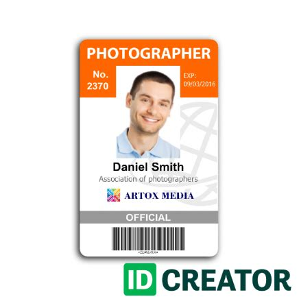 Employee Badges By Idcreator Com Create Custom Employee Badges For Free Photographer Pass Template