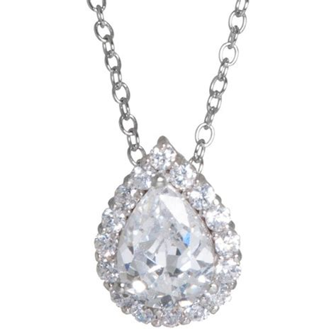 Clover Silver Pendant With Clear Cubic Zirconia And Neckla P 180 sterling silver cubic zirconia tear pendant silver clear 18 quot target
