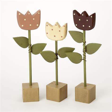 Tulip Set 3 wood tulip flowers set of 3 wood me tulips flowers and chang e 3