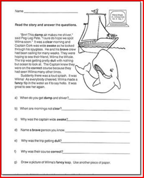printable reading comprehension test 4th grade reading comprehension worksheets multiple choice